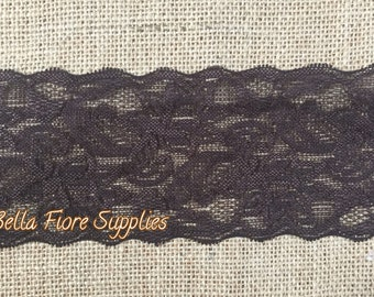 Chocolate Brown Stretch Lace Trim- 3 Inch- Brown Stretch Lace- Wide Stretch Lace- Wholesale Lace- DIY Headband