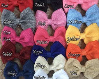 Burlap Bow with Clip- 4 Inch Burlap Bow- Wedding Burlap Bow- Burlap Hair Bow- Ivory, Tan, White, Navy, Gray, Pink, Red, Black, Orange,Yellow