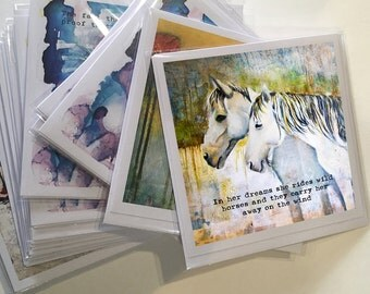 Art Printed Greeting Card, Wild Horses Card, Horse Art, Blank Note Card, All Occasion Card, Original Art Print, Inspirational Quote Card,