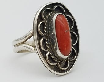 Signed Sterling Silver & Red Coral Vintage Ring - Size 8.5