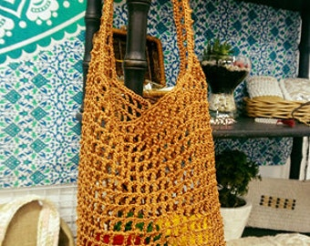 Crochet beach market shopping bag handmade gift for girl wife convenient