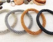 Silver or Steel (Silver Grey), Gold, Hematite Color Roll On Bracelet  - Crocheted Seed Beads Bracelet - Bead Crochet Rope Bracelet