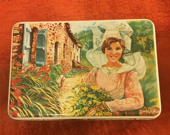 Vintage Breton Biscuit Tin, Made in France and Featuring a Delightful 'Maid' Motif