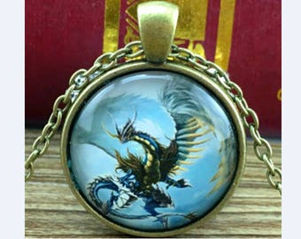 Pendant cabochon, Dragon, Dragon necklace