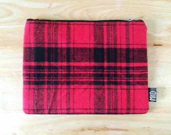 Plaid clutch, red and black plaid, flannel bag