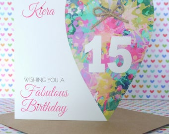Personalised Handmade Birthday Card 12th,13th,14th,15th,16th,18th Sister, Cousin, Daughter, Granddaughter