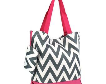 5 Personalized Bridesmaid Gift Chevron Tote Bag Gray & Fuchsia