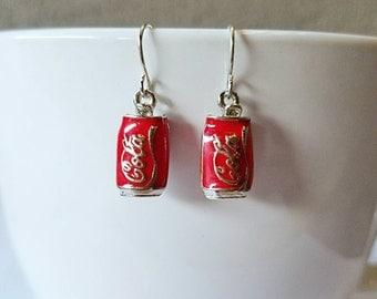 Coke earrings, coca cola earrings, soda earrings, coke can earrings, soda pop earrings