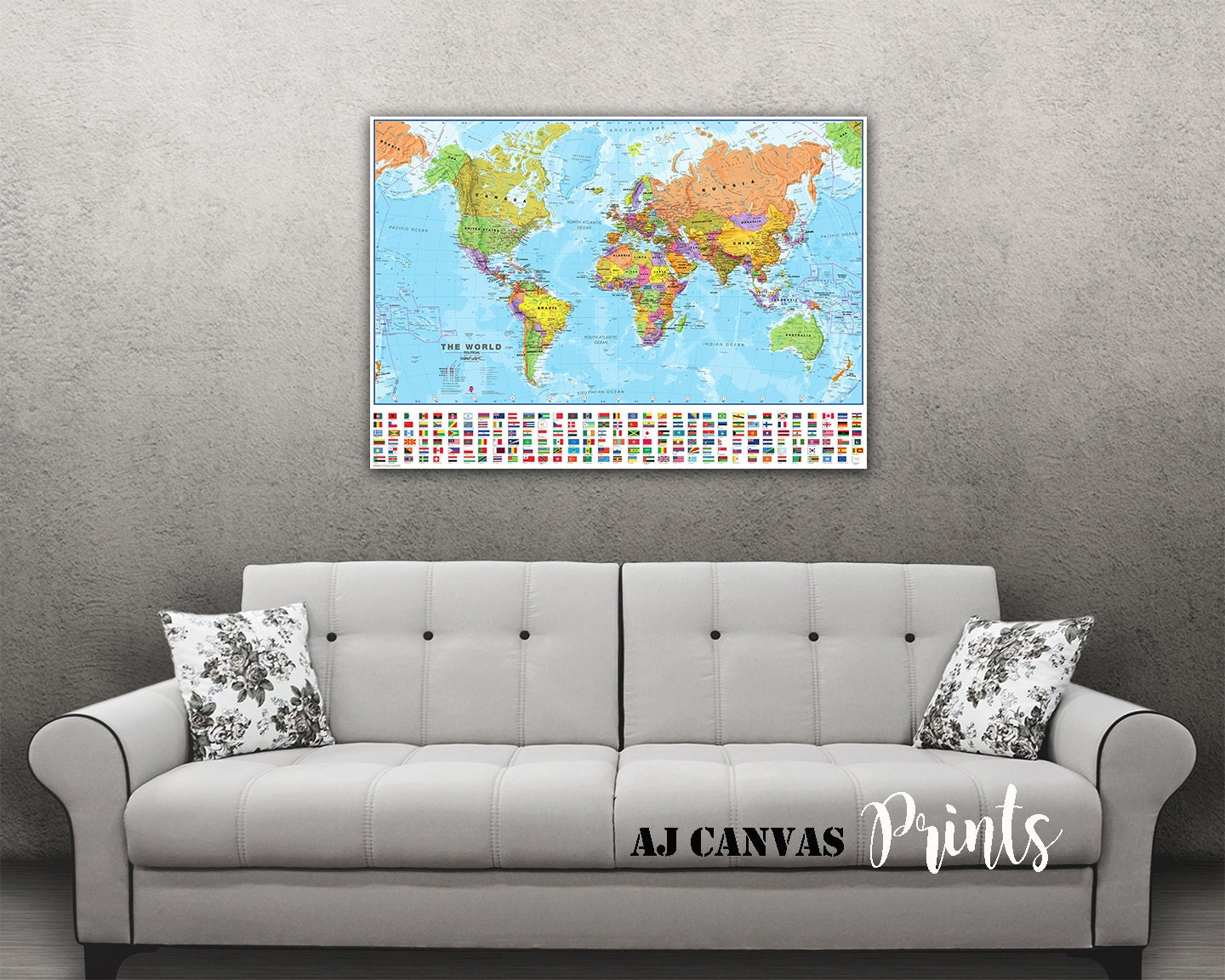 World Map, Large World Map, Push Pin Map for Home, Office Decoration ...