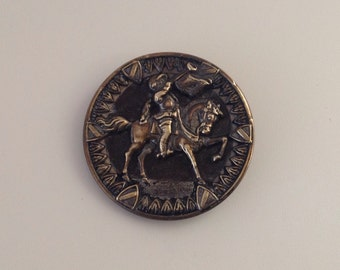 Herald on Horseback. Antique Picture Button. Equestrian.