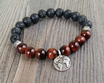 Lava rock and red tiger eye - stones 8mm charms mandala