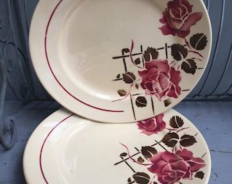 6 plates half porcelain Badonviller