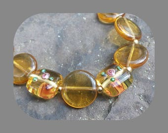 Amber Colored Glass Necklace and Earrings