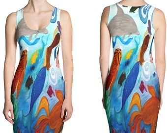 Ladies tropical fish and mermaid party all over print dress