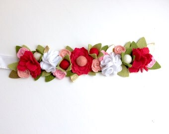 Felt flower crown with green leaves headband - coral red, pink, white flowers with berries- Christmas Holiday