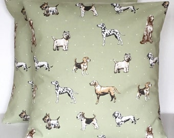 2 x  Handmade Best Of Show Sage Green White Tan Black Cushion covers