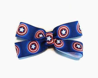 Captain America Pin Badge Bow