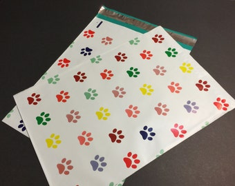 50 Designer DOG PAW Prints Multi Color Poly Mailers 10x13 Envelopes Shipping Bags