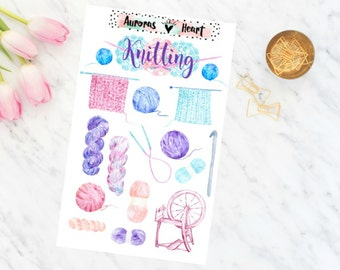 Knitting wool soft watercolor planner stickers boho