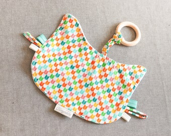 Doudou cat in organic cotton with teether