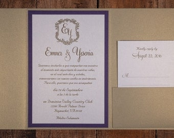 gold and purple wedding invitation gold and purple invitation spanish wedding invitations spanish - Wedding Invitations In Spanish