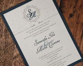 navy and silver wedding invitations navy wedding invitation navy and silver invitation navy - Silver Wedding Invitations