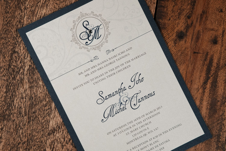 Navy Wedding Invites: Navy And Silver Wedding Invitations Navy Wedding Invitation