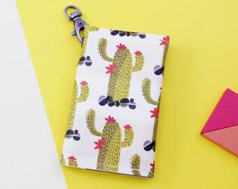 Credit card holder, Cactus credit card case, Printed fabric credit card wallet, Vegan leather credit card organizer, Credit card keychain