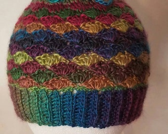 Messy Bun Beanie Hat convertible Cowl in Stained Glass