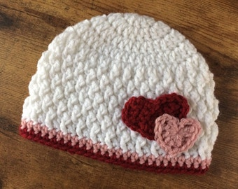 Crochet Heart Hat - Heart Beanie - Red and Pink Hat - Toddler - Baby - Newborn - Winter- Texture Hat - Valentines Day