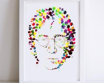 John Lennon Illustrated Art Print