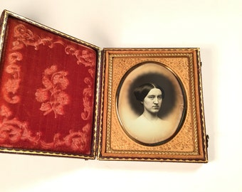 Crayon-Style Daguerreotype of a Woman, 19th Century Antique Photo in Full Case