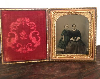 Beautiful Tinted Mother Daughter Ambrotype, 19th Century Antique Photograph in Full Case