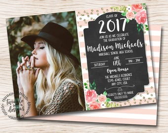 Floral Graduation Invitation | Pink, Gold, Black, Rustic Floral | Digital PDF Invite | Printable | Printable Invitations | DIY Invitations
