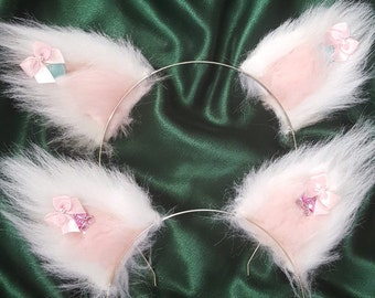 Kitten ears - White and Pink Butterfly or Blue Heart kitten ears, white and pink faux fur. Cat ears, Neko, Kawaii, cosplay, costume