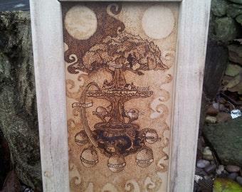 Pyrographed Artwork ~ Yggdrasil World Tree