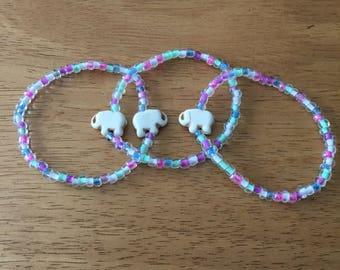 White Elephant Beaded Bracelets