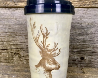 Travel mug with elk antlers or deer with lid