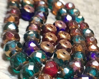 Copper Multicolored Dark Czech Glass Faceted Rondelle Beads 4mm