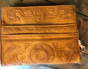 Vintage Avelar's Tooled Leather Handbag, Diaper Bag, Suede, Mexican, Mayan Calender, Mayan Cheif, Temple (B489)