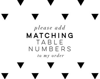 Printable Table Numbers | Matching Table Numbers