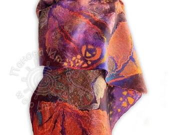 Felted scarf Verona  felt wool Red Butterfly nuno felted scarf,eco felted shawl, nunofelted wool scarf, artistic silk