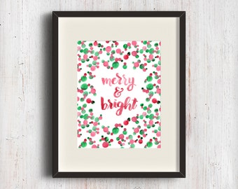 Merry and Bright. Holiday hand lettering fine art print. Watercolor brush calligraphy. Red and green bubbles pattern.