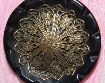 """Exceptional Carved Black Bakelite Button ~ XL 1 3/4"""" ~ Silvered Brass Filigree Escutcheon ~ Very Fine Lacy Look Escutcheon ~ Just Lovely!"""