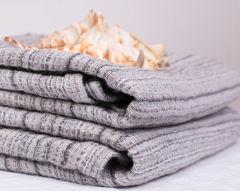 Pure 100% LINEN TOWELS SET Consisting of 2 bath towels Grey striped  Washed Top Quality  Linen  Towels  highly absorbent