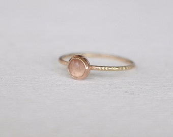 14 k  Gold stackable Ring with Rose quartz