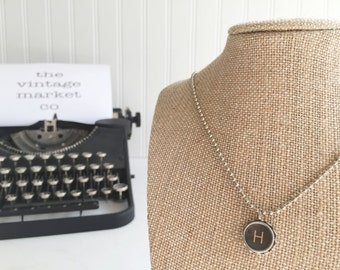 vintage typewriter necklace letter {h} authentic