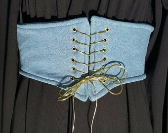 Waist cincher,lace up waist belt,blue corset belt ,blue Underbust corset,victorian corset belt,