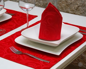 Luxury Red Table Placemat - Anti Stain Proof Resistant - Pack of 2 units - Ref. Lyon