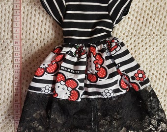 CLEARANCE black and white hello kitty dress for SD Dollfie Dream